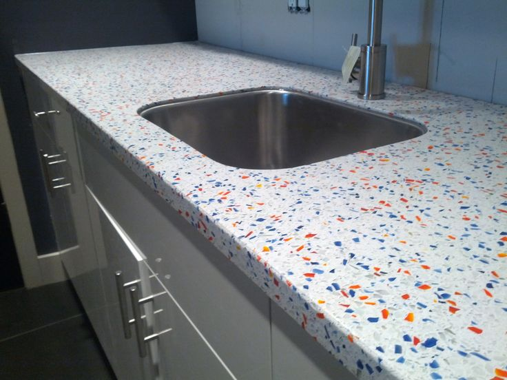White Background Color With Accents Of Orange And Cobalt Blue Glass As A  Downstairs Bar . Recycled Glass CountertopsConcrete ...