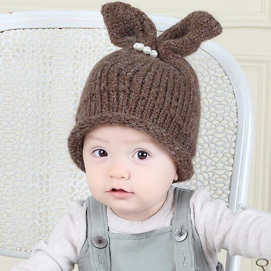 4d686ff3edc New fall winter children hat pearl rabbit ear knitting hat baby girl kawaii hat  cap