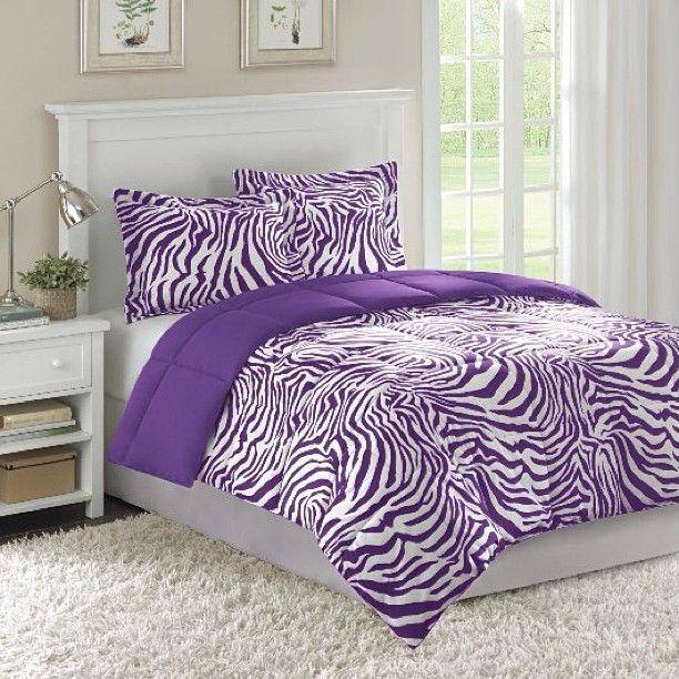 Purple zebra bedroom