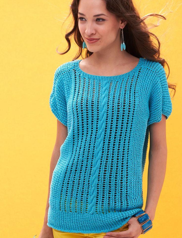 Knitting Summer Blouses : Yarnspirations patons breezy dolman top patterns