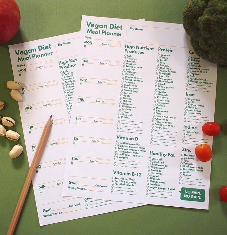 A5 Filofax Meal Planner printable Vegan Diet & Grocery List
