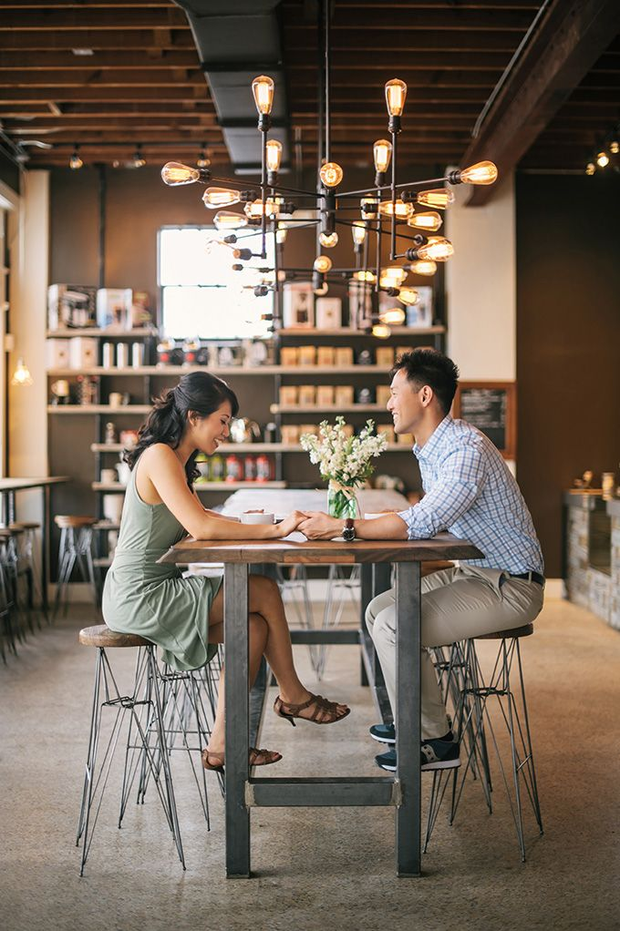 Conversations, love, and coffee engagement session at Buddy Brew Coffee | tampa wedding photographer angel he photography
