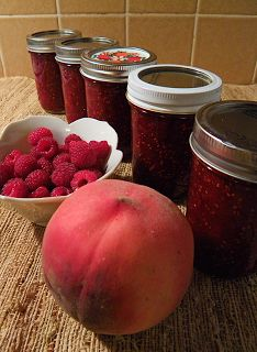 Peach-Raspberry Jam (no added pectin) -- very tasty and has much less sugar than pectin recipes.