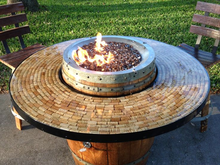 Wine Barrel Gas Fire Pit and Patio Table by AWineofaKind on Etsy https://www.etsy.com/listing/181273829/wine-barrel-gas-fire-pit-and-patio-table