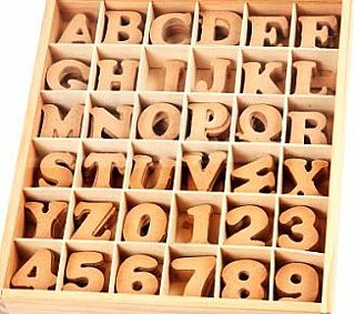 MDF Letters & Numbers - 288 Assorted in a Wooden Storage Box - Great Value, Wooden Craft Supplies