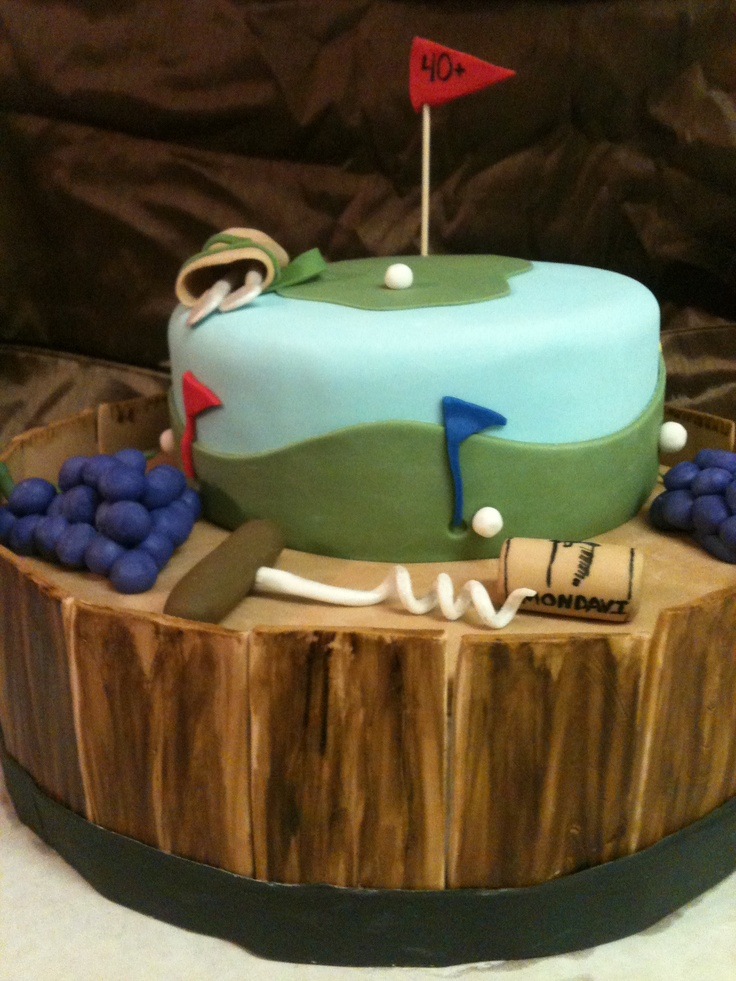 Golf and wine retirement cake