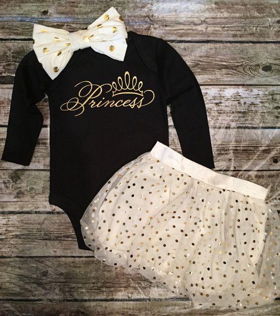 Baby Girl Princess  Onesie Gold and Black  Onesie by BellaPiccoli