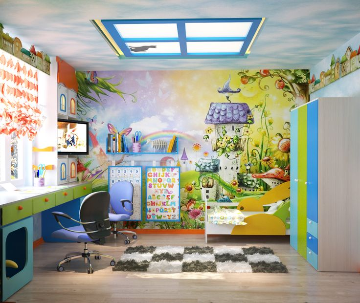 A Photo printing of a window on a stretch ceiling in a kid's room.