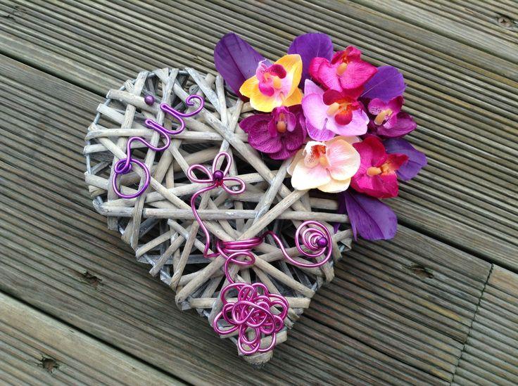 Porte alliance coeur naturel et orchidées assorties : Autres accessoires par fleur-deco