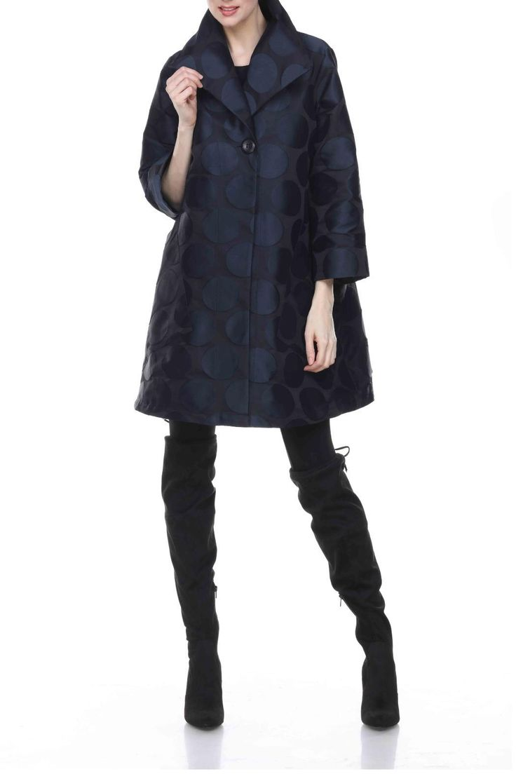 Navy Dot Opera Jacket by Sun Kim. Sun Kim is a division of Comfy USA. Sun Kim is very comfortable, lightweight, packable travel wear.   Opera Jacket by Comfy USA. Clothing - Jackets, Coats & Blazers - Jackets Wisconsin