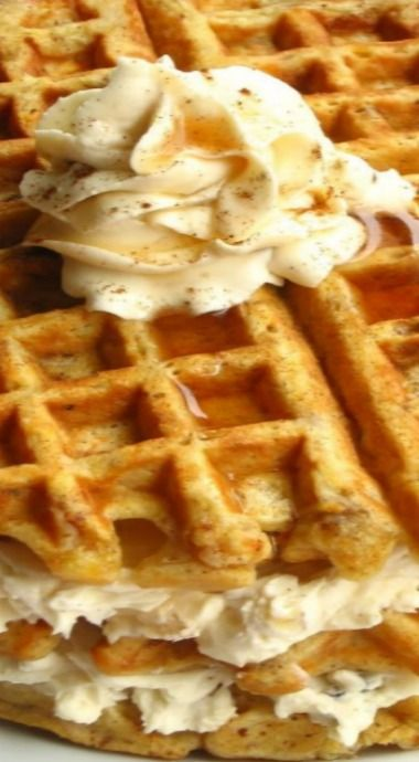 Carrot Cake Waffles with Maple Nut Cream Cheese Spread.