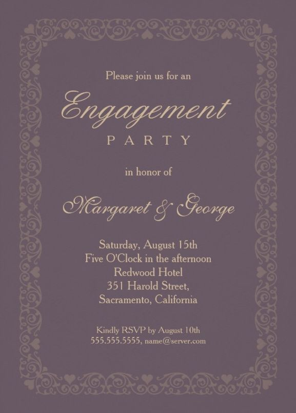 Elegant violet engagement invitation template - Features an ornamental frame decorated with ornamental lace and hearts. Just beautiful! More at http://superdazzle.com