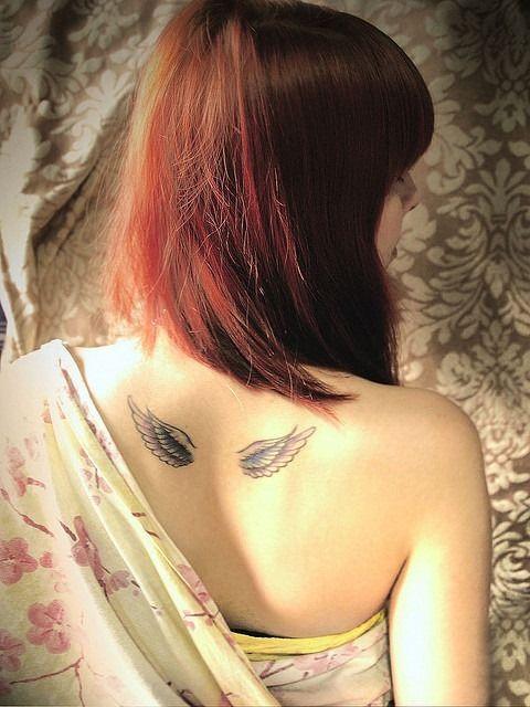 Cute Wings Tattoo on Back