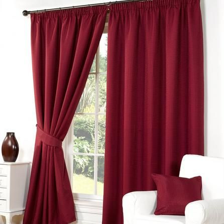 Hamilton McBride Striped Traditional Red Wenden Pencil Pleat Curtains