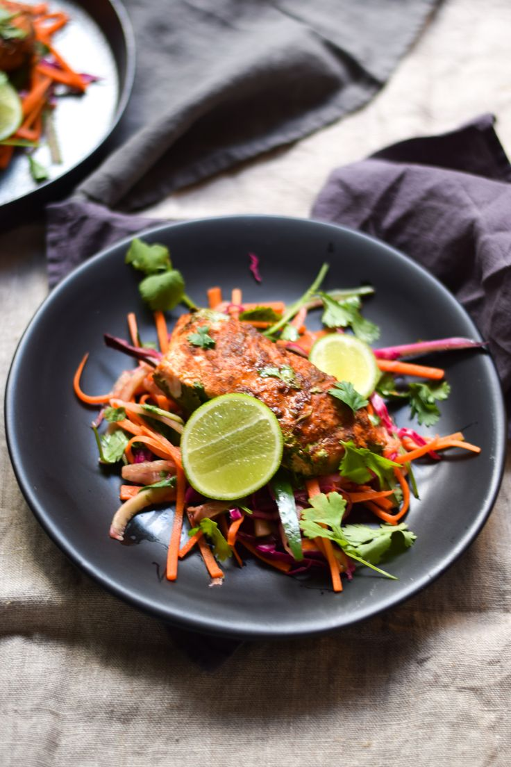 ... Mexican Slaw with Coriander and Lime Baked Salmon | straight nom