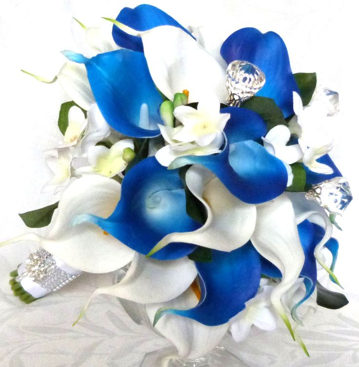 Blue and white real touch calla lily bouquet real touch calla lily with silk stephanotis bridal bouquet and boutonniere set by ChurchMouseCreations on Etsy https://www.etsy.com/listing/232496891/blue-and-white-real-touch-calla-lily