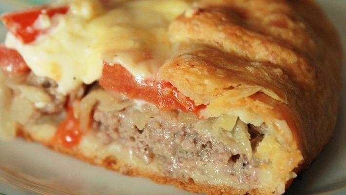 Рецепт пирога мясного на картофельном тесте