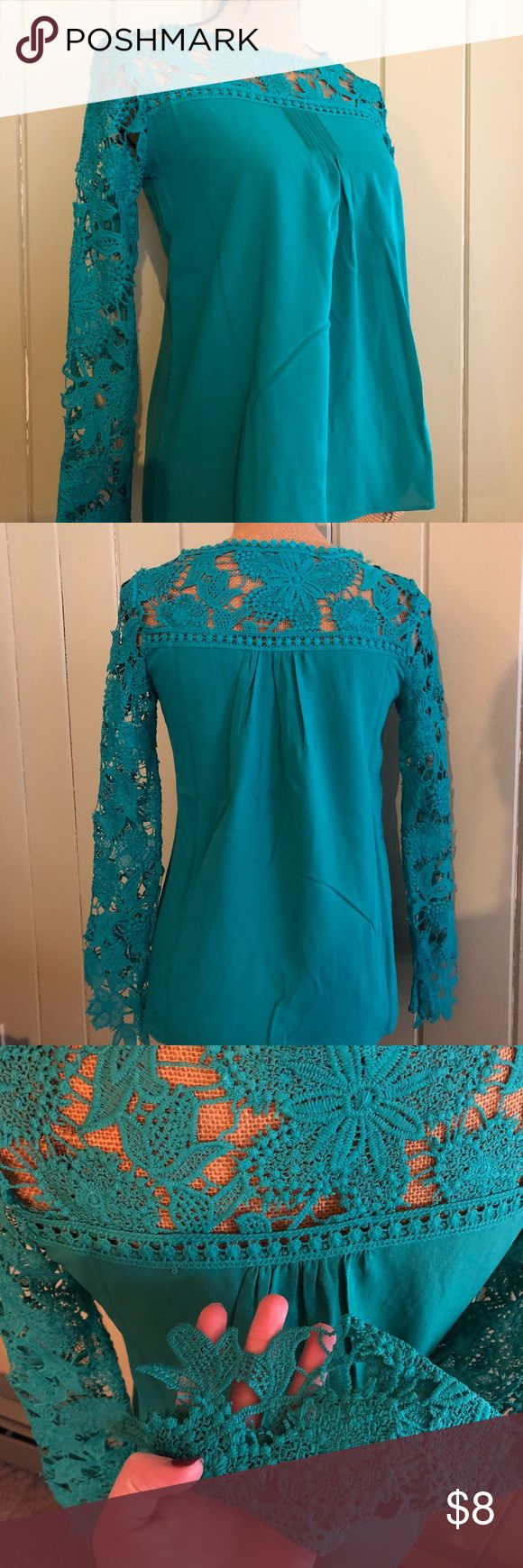 Teal Blouse Like new! Worn once for a performance. A bit tight in the shoulders, fits more like an XS. Tops Blouses