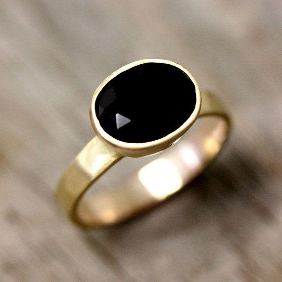 14k Gold und schwarzen Spinell-Ring Edelstein und von onegarnetgirl