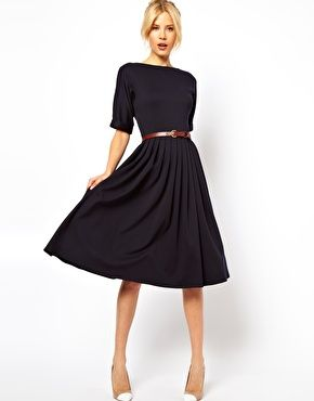 Bild 1 von ASOS – Knielanges Kleid mit ausgestelltem Rock und Gürtel