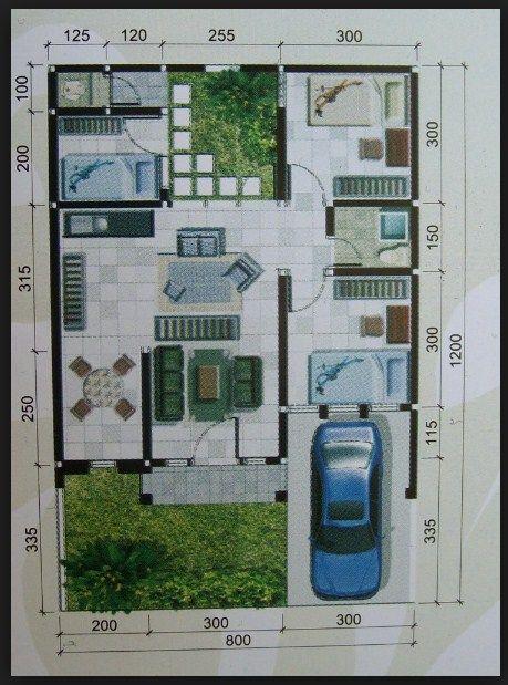 Denah rumah minimalis 1 lantai ukuran 8x12 | KONSEP RUMAH ...