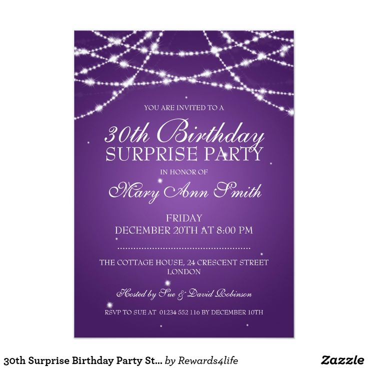 30th Surprise Birthday Party String Stars Purple Card Elegant 30th Surprise Birthday Party invitation design with sophisticated String of Stars Purple motif, custom name and date and additional text. Impress your family and friends with this stylish and classy birthday announcement design. Fully customizable! Easy to use and easy to personalize.
