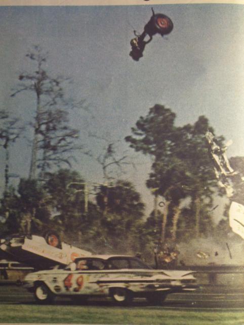 Bob Welborn Drives By Backstretch Crash Nascar Race