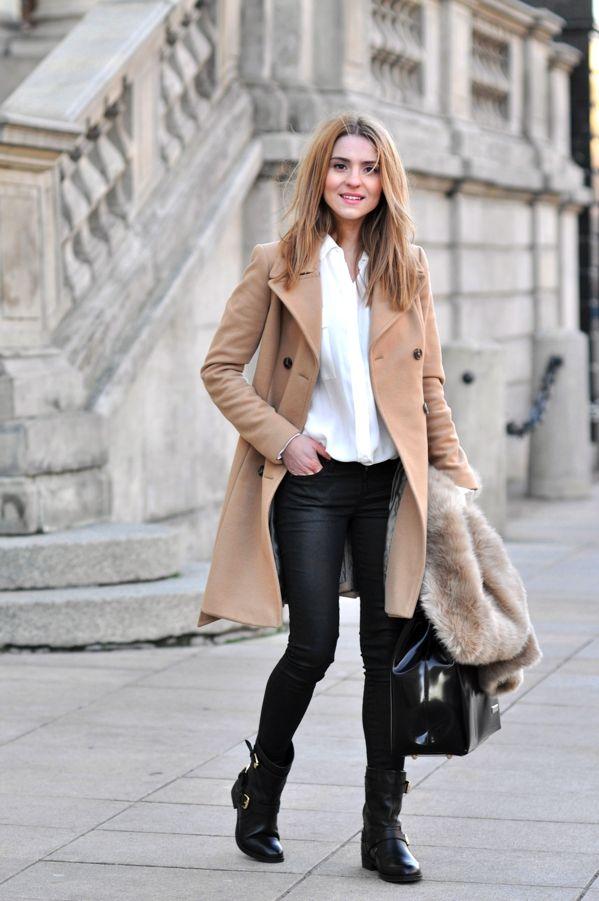 tan coat / motorcycle boots / fur