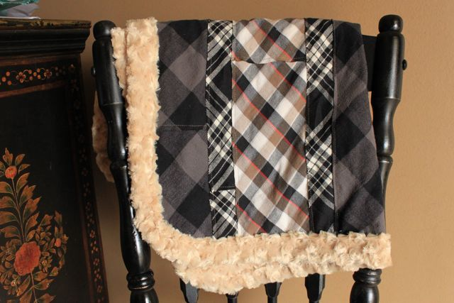 Love this blanket idea out of mens flannel shirts.. so cute !