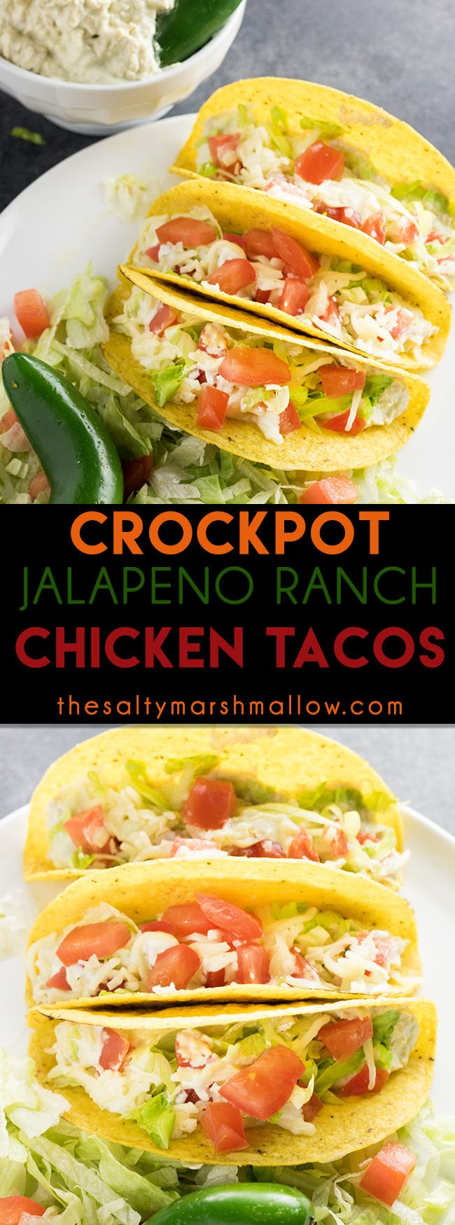 Crockpot Jalapeno Ranch Chicken Tacos: These crockpot shredded chicken tacos are super easy to make and perfectly spicy with creamy jalapeno ranch!