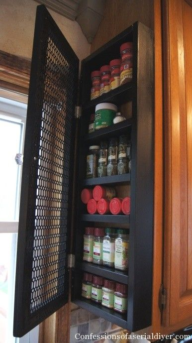 Organize Your Spices ~    Build a cabinet to hang on the end of your kitchen cabinet to hold your spices.    How To @:  http://www.confessionsofaserialdiyer.com/finally-a-solution-to-my-messy-spice-cabinet/