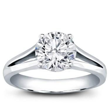 Split Shank Solitaire for Round Diamond in 14K White Gold - R2929