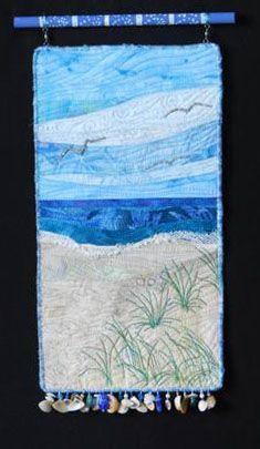 Blue Skies by Eileen Willliams.   Mini art quilt