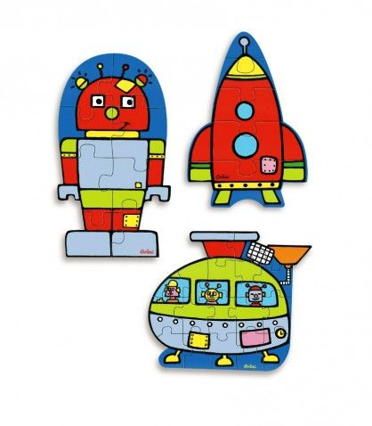 Set of Three Robot Puzzles - Vilac Toys - up to 40% off