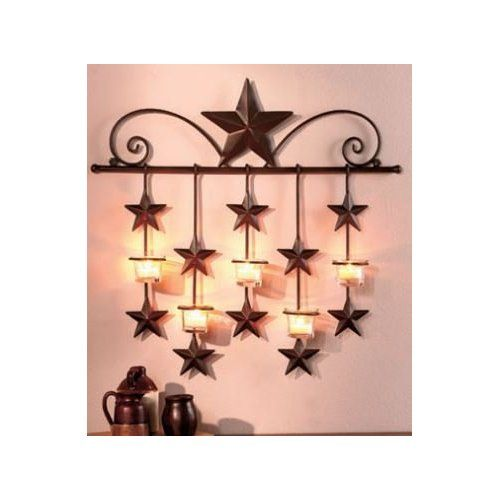 Rustic Barn Star Tea Candle Wall Sconce. Rustic Star Home Decor.