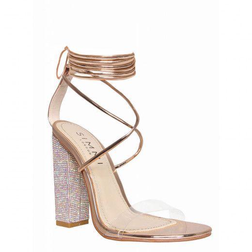 911ac543560 Karla Rose Gold Clear Lace Up Diamante Heels in 2019   Baddie Bride ...