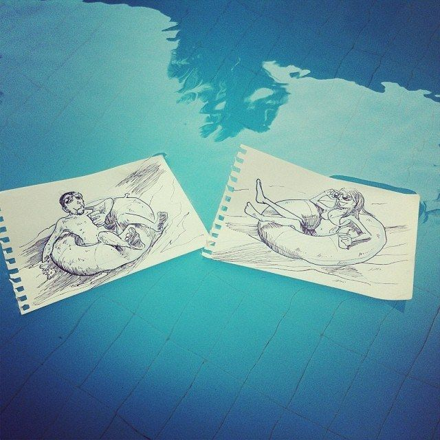 Relaxing In The Pool  18 Creative & Arty Cartoon Bomb Drawings That Will Leave You Amazed • Page 5 of 5 • BoredBug