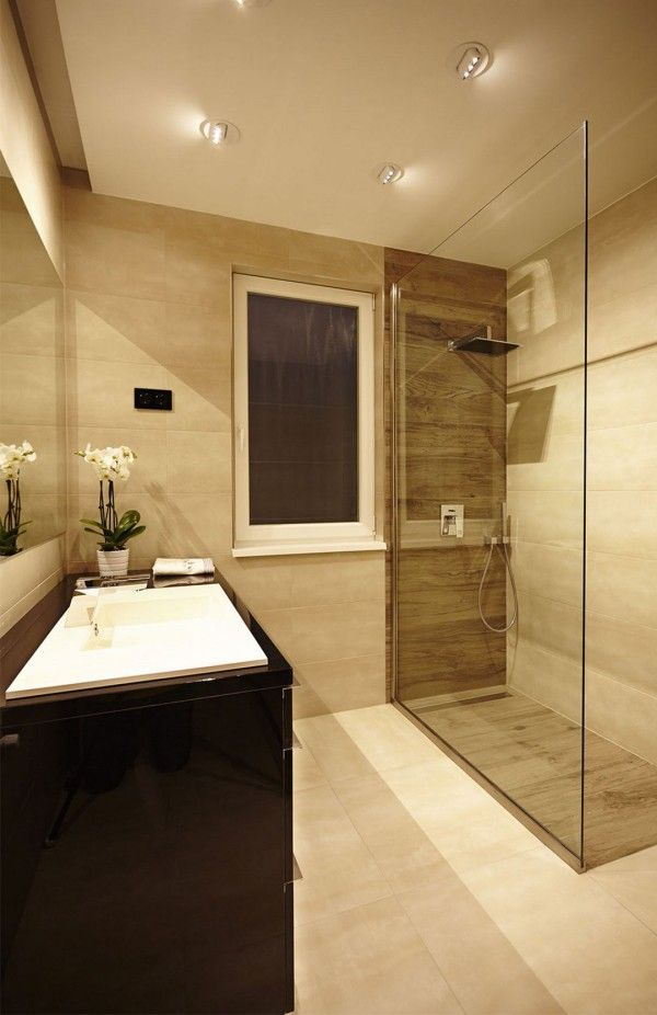 Apartments Shower Glass Wall White Marble Tile