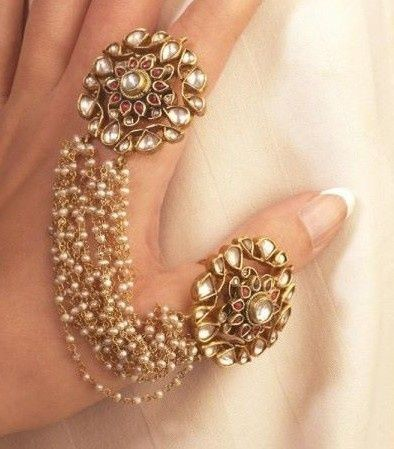 Mughal Kundan Ring Duo Attached with Pearls A Unique Piece of Art to Adorn | eBa...