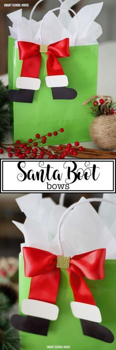 If you're wrapping gifts for kids this year, you must add some decorative Santa boot bows to them! #DIY #ChristmasIdeas #ChristmasGiftIdeas