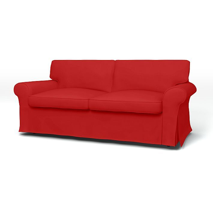Ektorp, Sofa Covers, 2 Seater Sofa Bed, Regular Fit using the fabric Panama Cotton Real Red