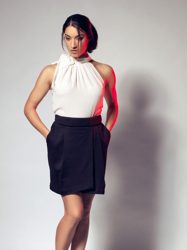 Tulip Skirt & Bow-Tie Chiffon Top by LUCA luv' cape town