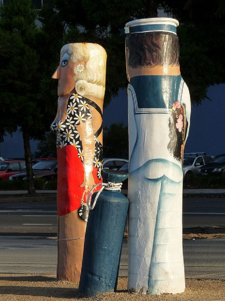 "Geelong, Victoria, Australia - ""Sailor and Woman"" Bollards No 25 - A 2nd World War couple representing the Sailor's Rest institution building, corner Moorabool Street and Eastern Beach Road."