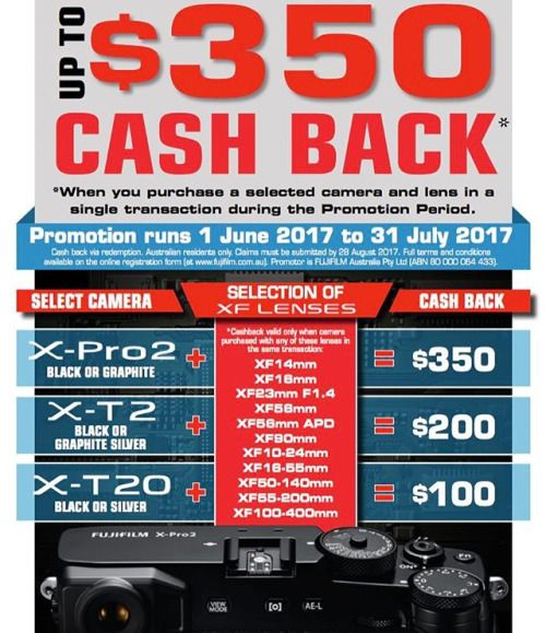 Get up to $350 cash back when you purchase a selected camera and lens in a single transaction now through 31 July 2017. Link to the Cash Back Program is in our bio. Cash Back Amounts: X-Pro2 (black or graphite)  Selected XF Lens = $350 cash back X-T2 (black or graphite silver)  Selected XF Lens = $200 cash back X-T20 (black or silver)  Selected XF Lens = $100 cash back Selected XF Lenses - XF14mm XF16mm XF23mm F1.4 (XF23mm F2 NOT included) XF56mm XF56mm APD XF90mm XF10-24mm XF16-55mm…