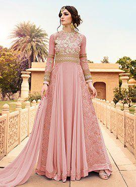 Dusky Pink Georgette Anarkali Suit