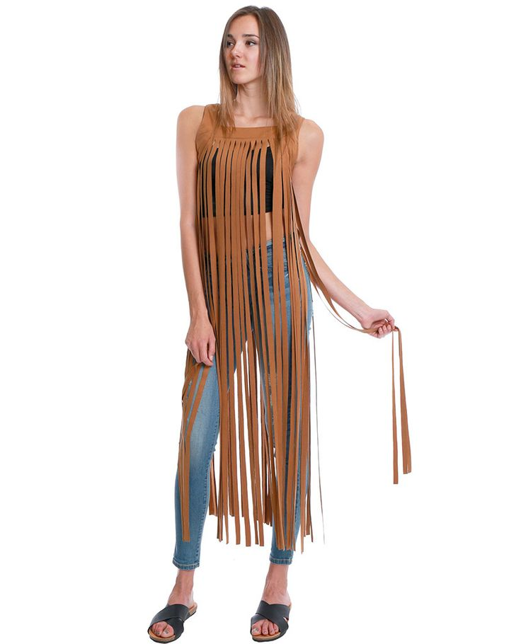 Don't Get Me Wrong Fringe Camel Maxi Dress (Non-stretchy faux suede sleeveless self-cut fringe detailing maxi dress)