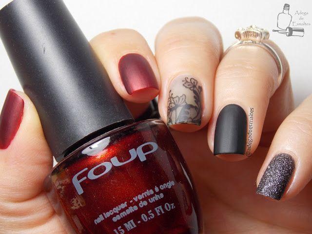 Esmalte Preto - Esmalte Vermelho - Unhas Mix'n Match - Unhas Foscas - Adesivo de Unha -   Esmalte Liquid Sand - Black & Red Nails - Matte Nails - Mix'n Match Nails - Nails Sticker - Sand Nail Polish