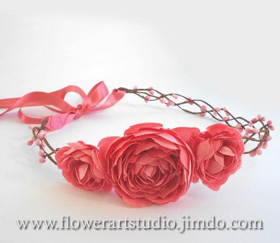 Coral Bridal Flower Crown ,Bridal Hair Accessories, Bridal Headband, Peach Floral Crown, Flower Girl Hair Wreath, Weddings, Wedding Headband...