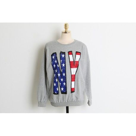 Fashion Online Clothing, Shoes and Dresses Shoemakker: Korean Sweater for women NY antique Printed Tee