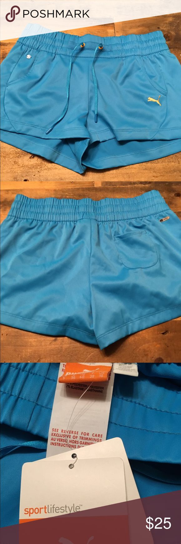 Brand new with tags adorable puma shorts Never worn. Tags on. Pretty blue Puma shorts Puma Shorts